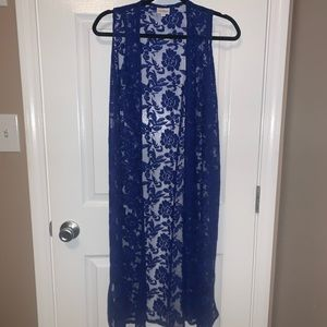 Lularoe Royal Blue Lace Joy Duster Vest XS